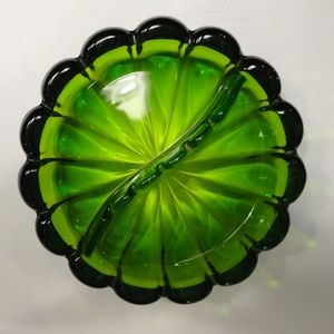 Other - Vintage Olive Green Glass Ashtray Heavy